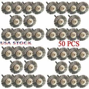50X Wire Brush Fit Dremel Rotary Tool Stainless Steel Die Grinder Removal Wheel
