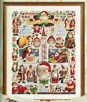 🎄 Christmas Folk Art SANTA MOTIF Sampler Cross Stitch Chart Donna Kooler