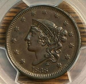 1838 Large Cent PCGS AU50 Pristine Surfaces Best Price on Ebay CHN