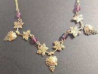 "Gold-tone Grapes Vine Leaves Leaf Necklace Purple Stones 19"""