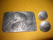 WENDELL AUGUST FORGE Pine Cone Pattern Aluminum Pin/Brooch Earrings   Free Ship