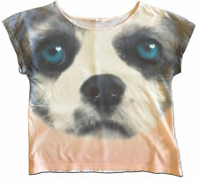 Fun H & M Size 14-16 Girl's Cropped Photo Real Dog Tee