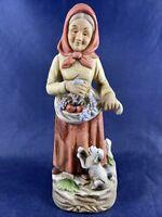 "Homco God's Blessings Farmer Figure Woman 8"" Tall #1417"