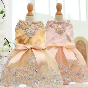 Cute Bow Pet Dog Dress Embroidered Lace Puppy Cat Princess Skirt Wedding Party