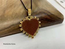 Orange Goldstone Gemstone Heart Pendant Necklace Sacral Chakra Healing Stone Om