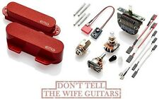 EMG T SET RED 2 TELECASTER PICKUPS FT & RT ACTIVE SOLDERLESS w/ POTS & SWITCH