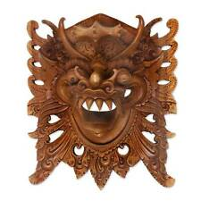 Wall Art Demon Protector Mask Tiger Barong Carved Crocodile Wood NOVICA Bali