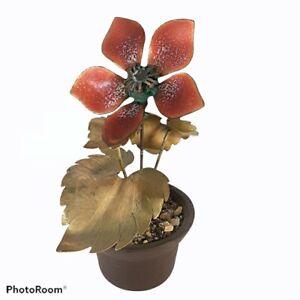 """Vtg Mini Enameled Enamel on Metal Flower in Pot Bovano of Cheshire Sculpture 5"""""""