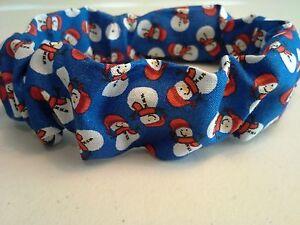 Christmas, Dog Collar Cover Scrunchie, Snowman, Custom Made by Linda, XS, S, M