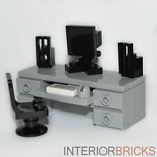LEGO Furniture: Computer Desk (Gray) - Complete Set w/ Chair, Keyboard, Speakers