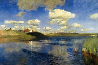 Oil painting Isaak Iliich Levitan - Lake Rus landscape with cloud in the sky 36""