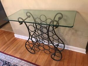 Wrought-iron Wine Rack With Glass Top