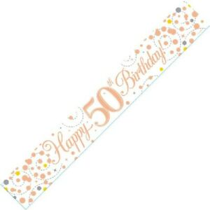 9ft White & Rose Gold Happy 50th Birthday Foil Banner Age 50 Party Decorations