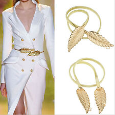 Hot New Fashion Women Gold Silver Metal Leaves Elastic Stretchy Strap Waist Belt