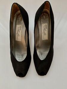 Magik By Amalfi Satin  8.5 B Peep Toe Pump Shoes Black Heels