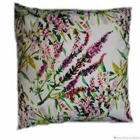 """FLORAL PINK PURPLE WILD MEADOW FLOWERS WHITE VELVET 18"""" CUSHION COVER £5.95 EACH"""