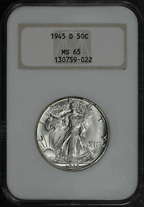 1945-D Walking Liberty Half Dollar NGC MS-65 Old Fatty Holder