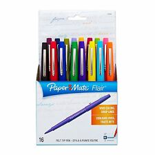 Paper Mate Flair 16 Felt Tip Pens Medium Point #70644 Assorted Colors