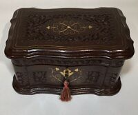Vintage Wood Box - Hinged Lid - Lock and Key / Corbin Cabinet New Britain Conn