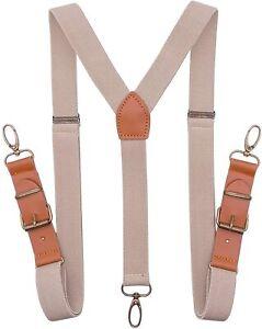 SupSuspen Men's Suspenders with Swivel Hooks Retro Suspenders Leather Adjustable