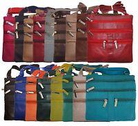 "Ladies Genuine Leather Cross Body Bag Satchel Messenger Bag 48"" Strap New"