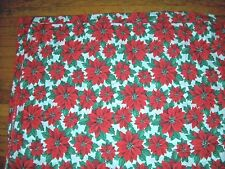 "Christmas Tablecloth Cotton-poly Blend Poinsetias 56"" x 78"""
