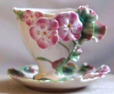 FRANZ PORCELAIN ~ Porcelain Cup & Saucer GERANIUM DESIGN  FZ00456 Pastel Colours