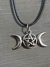 Leather Pendant with Silver Tripple Moon Goddess Charm