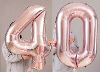 "40th Birthday Party 40"" Foil Balloon HeliumAir Decoration Age 40 Rose Gold lite"