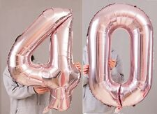 """40th Birthday Party 40"""" Foil Balloon HeliumAir Decoration Age 40 Rose Gold lite"""