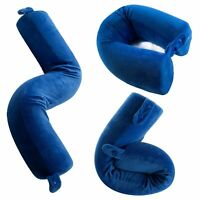 BlueHills Memory Foam Neck Travel Twist Airplane Pillow Velvet Accessories Blue