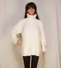 hand knit Sweater 90% ANGORA rabbit Pullover WHITE Fuzzy SOFT Jumper TURTLENECK