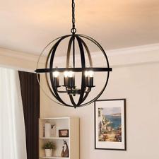 Chandelier Farmhouse Hanging Lighting 5 Lights Globe Ceiling Light Fixture Metal
