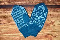 Norwegian gloves Nordic Fair Isle Hand Knitted Wool Mittens