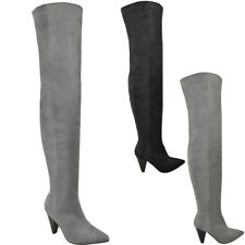 Ladies Womens Thigh High Over The Knee Boots Heels Pointed Toe Party Shoes Size