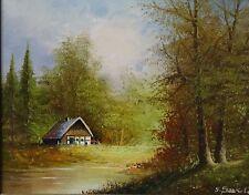 """Gunter SEEKATZ (1928) """"Haus am Fluss"""", Öl/Platte, ger (247/12012)"""