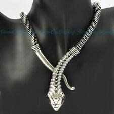 Fashion Vintage Silver Chain Snake Head Punk Gothic Pendant Bib Necklace