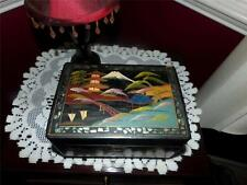 WWII C JEWELERY BOX PAINT ON GLASS LACQUER MUSICAL HAND CRAFTED JAPAN