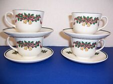 Johnson Bros England Victorian Christmas 4 Footed Cups & 4 Saucers Susan Kennedy
