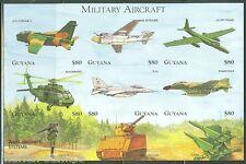 GUYANA IMPERFORATED MILITARY AIRCRAFT  SHEET SC#3326   MINT NH RARE