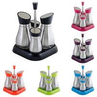 4PC Set Stainless Steel Oil Vinegar Dispensers Salt Pepper Shakers Cruet Set
