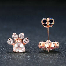 Fashion Rose Gold Plated Paw Aquamarine Stud Hoop Earring Jewelry Gift for Women