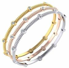 1 carat total 14k Yellow Gold Diamond Bangle Bracelet 10 x 0.10 ct each, F-G