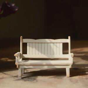 Miniature Dollhouse Fairy Garden Mini White Patio Bench - Buy 3 Save $6