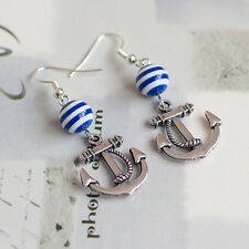 Antique silver nautical sailor anchor earrings with navy blue white stripe beads