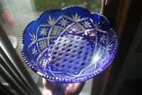 Vintage Cobalt Blue Crystal Bowl Made by Bohemian/Czech Masters Saw Tooth Edged