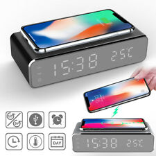 Electric Led Alarm Clock With Phone Wireless Charger Desktop Digital Thermo NEW~