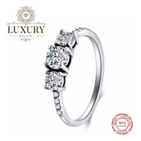 Cubic Zirconia Solid 925 Sterling Silver Wedding Party Sparkling Ring
