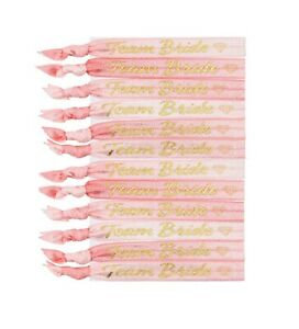 12 x Wrist Bands Hen Party Team Bride Wedding Favours Elasticated Material