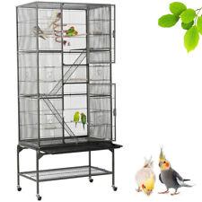 69'' Large Bird Parrot Cage Cockatiel Conure Cacique Pionus W/Stand & Two Doors
